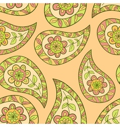 Orange summer paisley ethnic pattern vector
