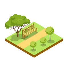 Park alley with wooden bench isometric 3d icon vector