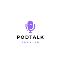podcast mic talk chat bubble logo icon vector image