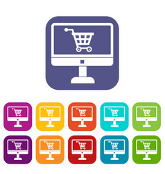 purchase at online store through computer icons vector image