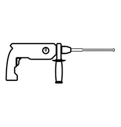 Rotary hammer demolition icon black color flat vector
