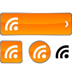 Rss button set vector image