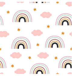 Seamless pattern with rainbow and clouds children vector