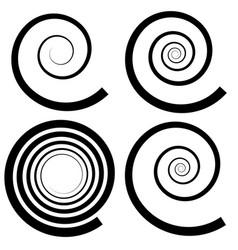 Set of 4 spiral shape spiral design elements vector