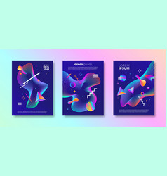 set of abstract multicolored design vector image