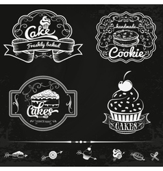 Set of bakery and cakes labels design vector