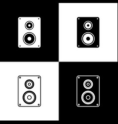 set stereo speaker icons isolated on black and vector image