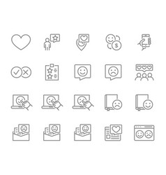 set testimonial line icons add to favorites vector image