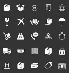 Shipping icons on black background vector image