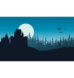 Silhouette of Castle and forest Halloween vector image