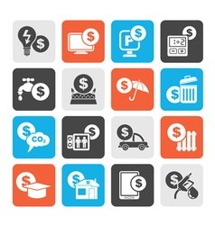 Silhouette payment of bills icons vector