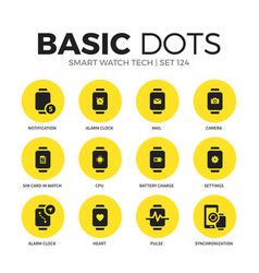 smart watch tech flat icons set vector image
