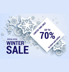 snowflakes sale off banner vector image
