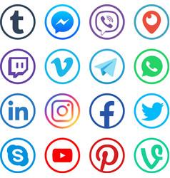 social media icons popular media web vector image
