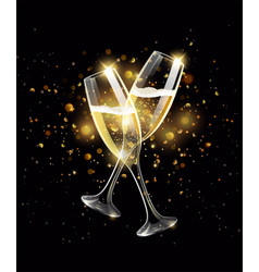 sparkling glasses of champagne on black background vector image