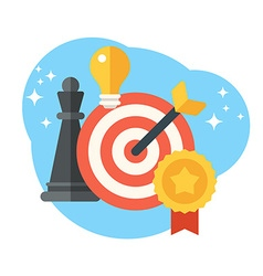 Strategy concept Chess target and arrow Creative vector image