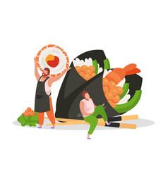 sushi flat background vector image