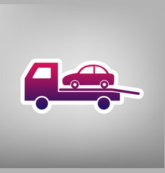 Tow car evacuation sign purple gradient vector