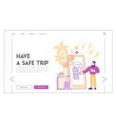 Travel application mobile technologies landing vector