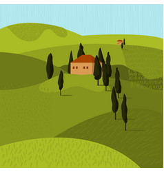 tuscan landscape house in trees vector image