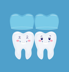 Two funny cartoon tooths with invisible brace vector