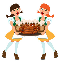 two german women waitress holding tray with beer vector image