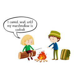 Two kids camping out on white background vector