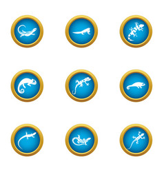 Viviparous lizard icons set flat style vector