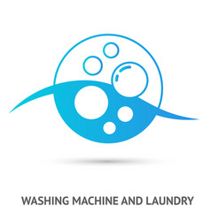 washing machine and laundry logo vector image