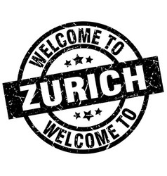 Welcome to zurich black stamp vector