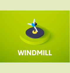 windmill isometric icon isolated on color vector image