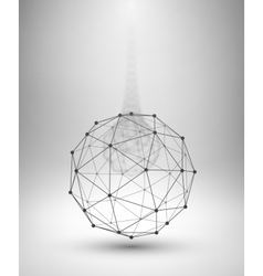 Wireframe globe sphere with connected lines vector