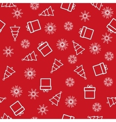Christmas and New Year seamless red pattern vector image