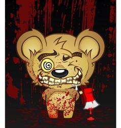 Demented Teddy Bear Cartoon Character vector image