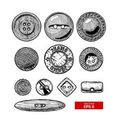 set of button clothes vector image