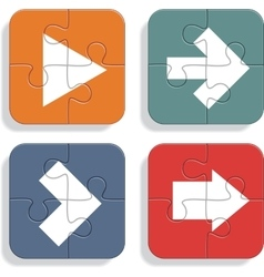 Set of different puzzle arrows icons vector image