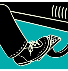 The foot on the gas pedal vector image