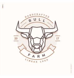 bull farm linear logo vector image vector image