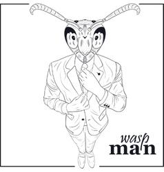 Cartoon character wasp vector image