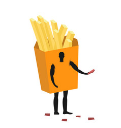 french fries costume man mascot promoter male in vector image