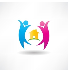happiness in the house icon vector image vector image
