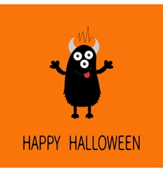 Happy Halloween card Black silhouette monster with vector image