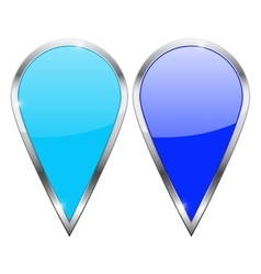 Location pin blue and turquoise icons with chrome vector