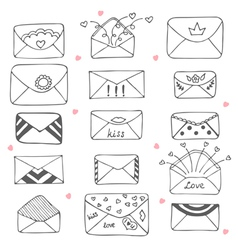 Set of hand drawn mailing envelopes Communication vector image