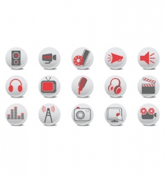video and audio buttons vector image