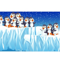 funny penguins cartoon family with snow mountain vector image