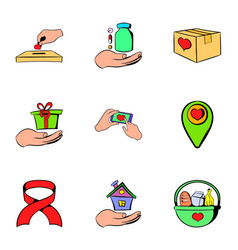 helping icons set cartoon style vector image vector image