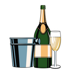 champagne bottle and cup pop art vector image