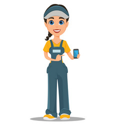 courier woman holding smartphone professional vector image vector image