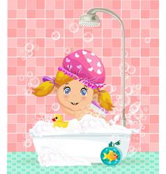 cute cartoon blonde baby girl taking a bubble bath vector image vector image